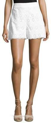 Kate Spade Cotton High-Rise Eyelet Shorts, Fresh White