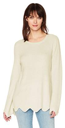 Michael Stars Women's Cashmere Blend Long Sleeve Crew Neck with Scalloped Hem