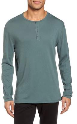 Vince Raw Edge Long Sleeve Henley T-Shirt