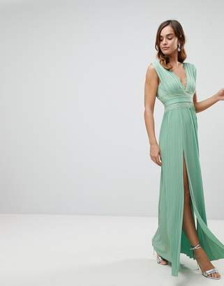 Asos DESIGN Premium Lace Insert Pleated Maxi Dress
