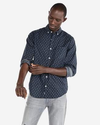 Express Slim Floral Button Down Shirt