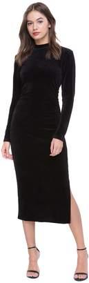 Juicy Couture Stretch Velour Mock Neck Midi Dress