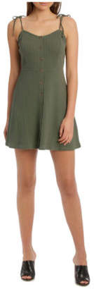 Miss Shop NEW Essentials Button Front Skater Dress Khaki