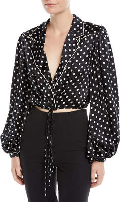 Johanna Ortiz Let's Dip Polka-Dot Silk Charmeuse Cropped Wrap Blouse