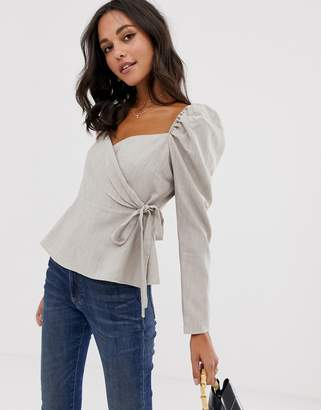 Asos Design DESIGN long sleeve wrap top with sweetheart neckline