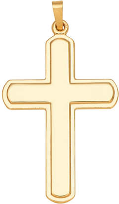 FINE JEWELRY 14K Yellow Gold Polished Round-Edge Cross Charm Pendant