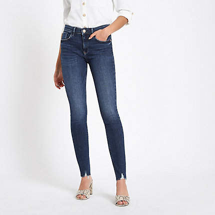 Womens Dark Blue Amelie ripped hem skinny jeans