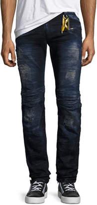 Robin's Jeans Motard Skinny Biker Jeans, Blue/Purple