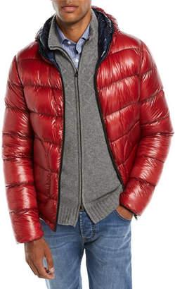 Herno Men's Reversible Puffer Coat, Red/Navy