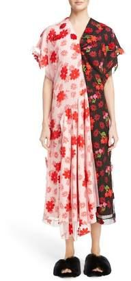 Simone Rocha Bicolor Embroidered Cap Sleeve Dress
