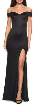 La Femme Off-the-Shoulder Stretch Satin Gown with Thigh-Slit