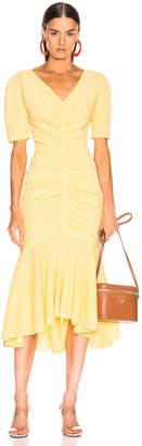STAUD Panier Dress in Yellow Gingham | FWRD