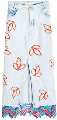 Peter Pilotto Embroidered Denim Front-Slit Skirt