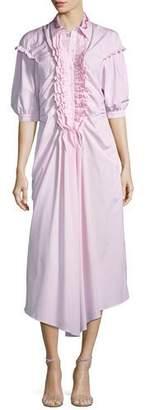 Simone Rocha Puff-Sleeve Ruffled-Bib Poplin Midi Dress