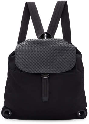 Bottega Veneta Black Intrecciato Leather and Canvas Backpack