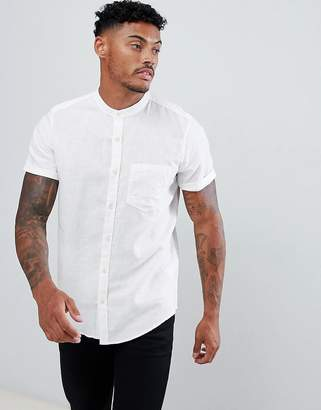 Pull&Bear Short Sleeve Shirt With Grandad Collar In White