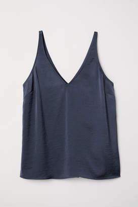H&M V-neck Satin Camisole Top - Blue