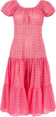 Michael Kors Cap Sleeve Tiered Eyelet Dress