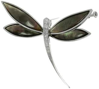 Van Cleef & Arpels 18K White Gold Diamond Gray Mother-Of-Pearl Dragonfly Brooch
