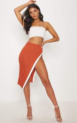 PrettyLittleThing Orange Contrast Midi Skirt