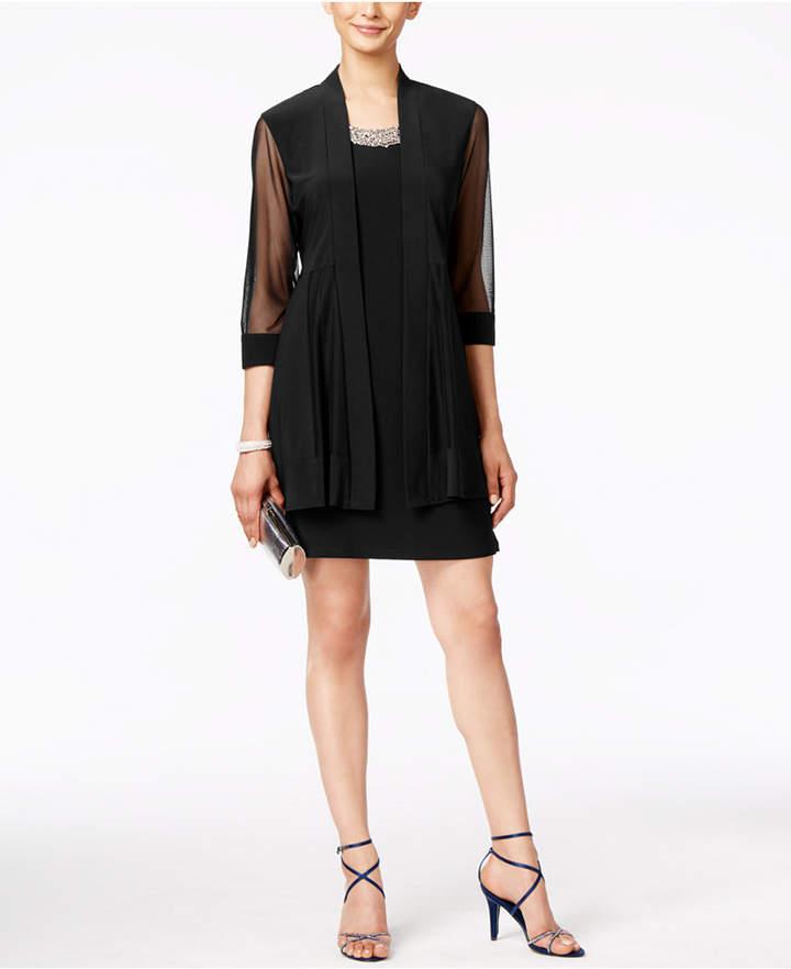 R & M Richards Embellished Dress and Illusion Duster Jacket 3