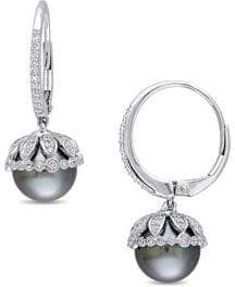 Sonatina Freshwater Cultured Pearl, Diamond and 14k White Gold Vintage Earrings