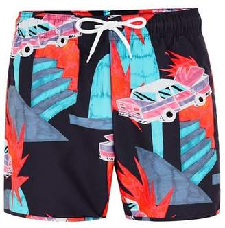 Topman Mens Navy Neon Car Pattern Swim Shorts