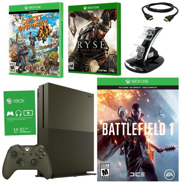 """Microsoft Xbox One S 4K Ultra HD 1TB Special Edition Green Console with """"Battlefield 1,"""" """"Sunset Overdrive"""" and """"Ryse: Son of Rome&q..."""
