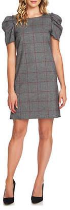 CeCe Scarlet Dream Puffed-Sleeve Plaid Shift Dress
