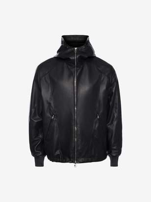 Alexander McQueen Patchwork Hooded Leather Jacket