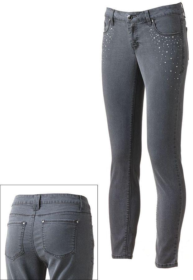 Apt. 9 modern fit embellished skinny jeans - women's