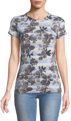 Allen Allen Tropical-Floral Burnout Print Cap-Sleeve Tee