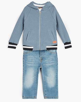 7 For All Mankind Boy's 12M-24M Hoodie Tee Jean in Bering Sea