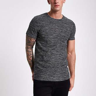 River Island Jack and Jones dark grey textured T-shirt