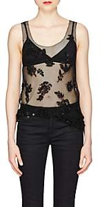 Saint Laurent Women's Floral Embellished Mesh Tank - Black