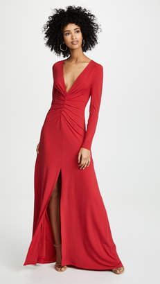 Halston V Neck Ruched Front Gown