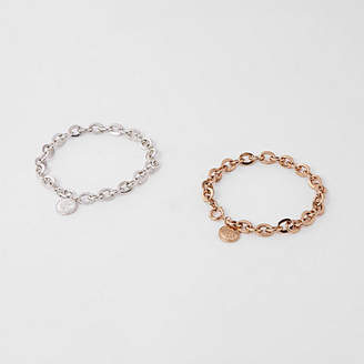 River Island Silver tone RI chain bracelet pack