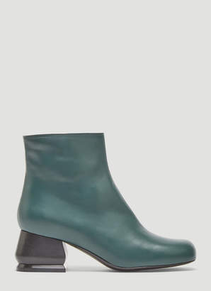 Marni Leather Ankle Boots in Green