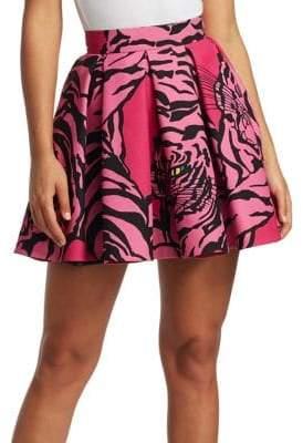 Valentino Tiger Wool& Silk Pleated Mini Skirt