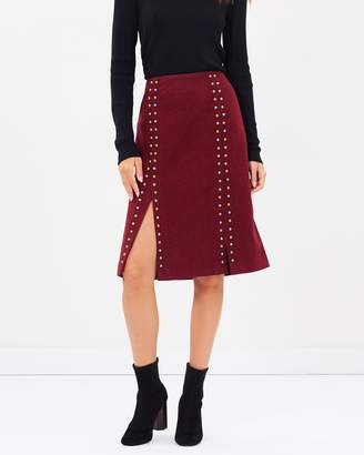 Maison Scotch Studded Wool Skirt