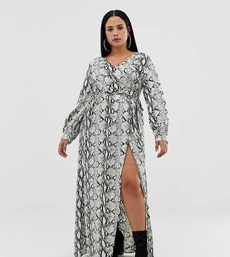 Missguided Plus long sleeve maxi dress in snake