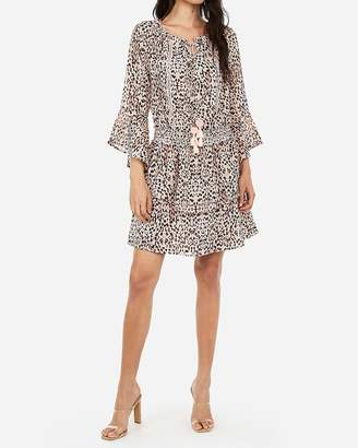 Express Leopard Smocked Chiffon Fit And Flare Dress
