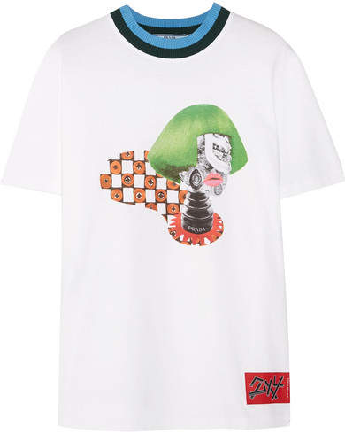 Prada - Ribbed Knit-trimmed Printed Cotton-jersey T-shirt - White