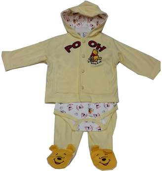 Disney Baby Girls Winnie The Pooh Onesie Hooded Top 3 Pc Pant Set 0-3M
