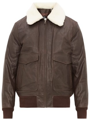 A.P.C. Gulfstream Removable Collar Leather Aviator Jacket - Mens - Brown