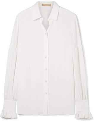 Michael Kors Ruffled Silk Crepe De Chine Shirt - White