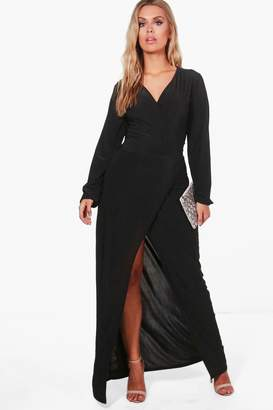 boohoo Plus Lacey Wrap Front Slinky Maxi Dress