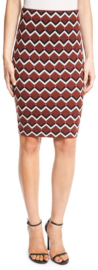 Trina Turk Geometric High-Waist Pencil Skirt, Multicolor