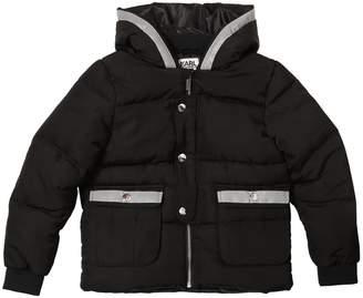 Karl Lagerfeld Hooded Nylon Puffer Jacket