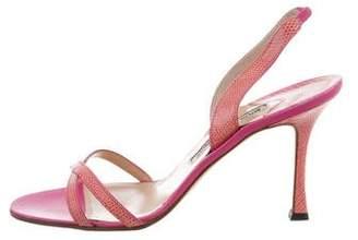 Manolo Blahnik Lizard Crossover Sandals